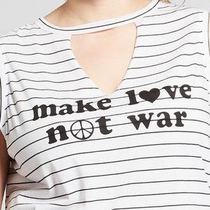 NWT Make Love not War Striped Tank Top